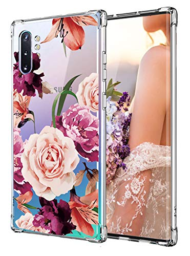 Case for Galaxy Note 10 Plus,Cutebe Shockproof Series Hard PC+ TPU Bumper Protective Case for Samsung Galaxy Note 10 Plus/5G 2019 Release Crystal Floral Design