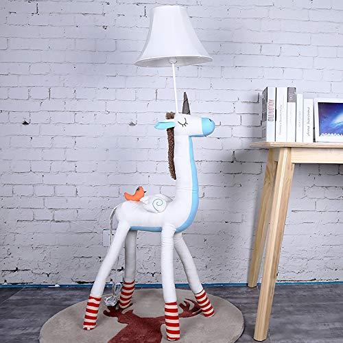 sandy Lámpara Pie LED, Lampara Salon Decorativa con Forma Animal Creativa, Lámpara Tela Independiente Moderna para la Habitación de Un Niño o Una Niña,Blanco