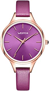 32mm Leather Strap Fashion Waterproof 3ATM Holiday Gift Decoration Red Purple Pink Woman Girl Lady Student Simple Quartz Watch
