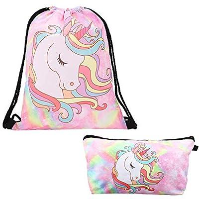 2 PCS Unicornios Mochila con cordón/Maquillaje Bolsa/Lindo Unicornio Mochila con Cordón para Regalo de Fiesta de Cumpleaños (Rosa)