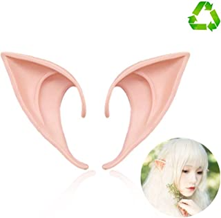 HUHUBA Elf Ear Costume Halloween Party Props, Soft Pointed Ears of Fairy Pixie for Anime Cosplay,(orange,size?M/L)