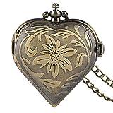 XQKQ Reloj de Bolsillo Retro Bronce en Forma de corazón Reloj de Bolsillo de Cuarzo con Esfera de Cristal Reloj para Mujer Regalo para Mujer con Cadena de Collar