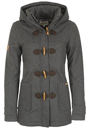 DESIRES Penna Damen Winter Jacke Parka Mantel Dufflecoat mit Stehkragen und Kapuze, Größe:M, Farbe:Med Grey Melange (8254)