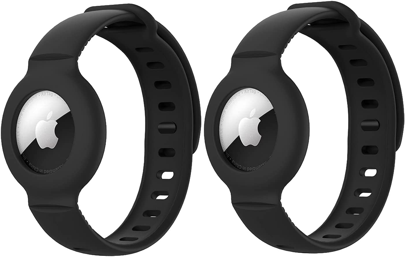 (2 Pack) Kids/Adults Anti-Lost Bracelet for AirTag, iZi Way Soft Silicone Wristband Watch Band Protective Case Cover Holder for Apple Air Tag Tracker - Black