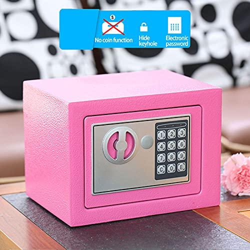 Caja de seguridad con teclado digital completo Mini cajas fuertes para el hogar caja de seguridad para propiedad montada en la pared efectivo joyas dinero documentos secretos armario segur(Color:Rosa)
