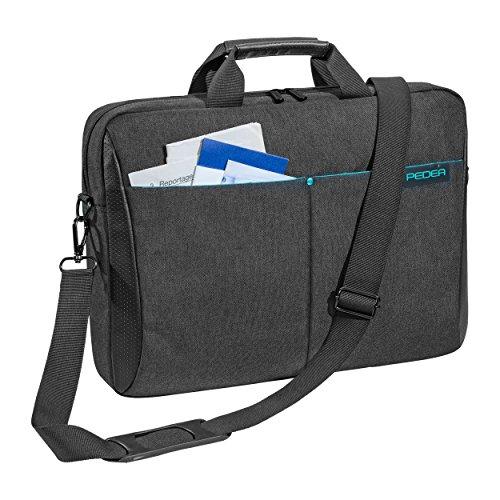 Pedea Laptoptasche Lifestyle Notebook-Tasche bis 17,3 Zoll (43,9 cm) Umhängetasche mit Schultergurt, Schwarz