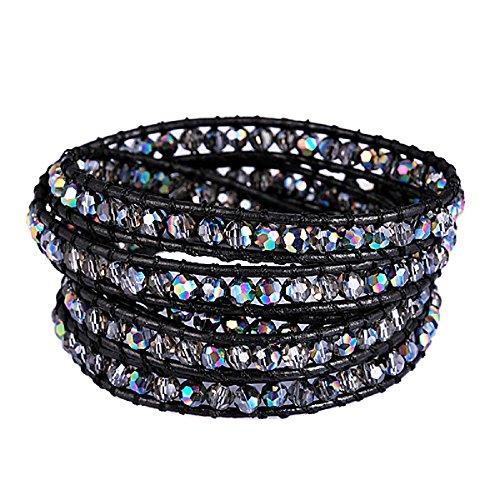 New! Genuine Leather Bracelet Multi Colors Beads Wrap Bracelet Nice Gift! (5 Wraps, Facet AB Rhinestone)