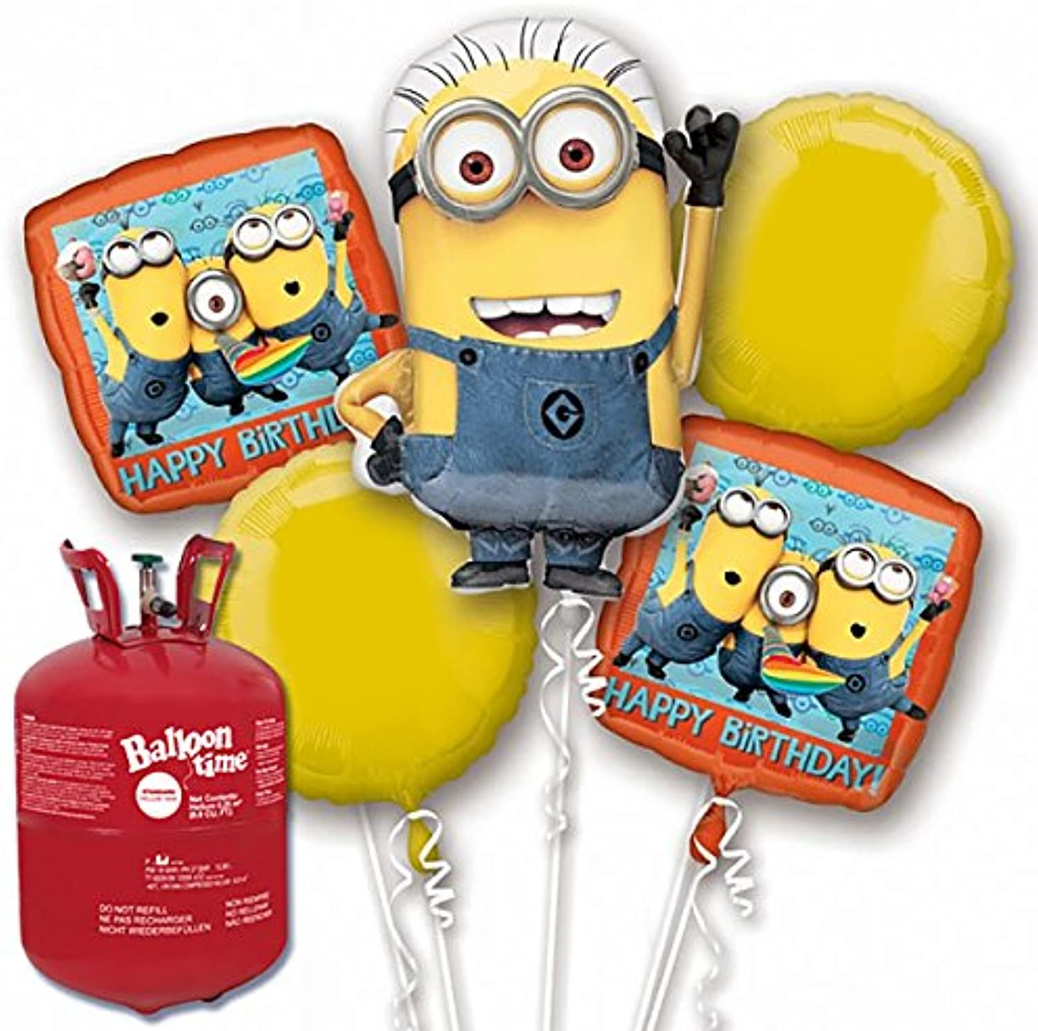 Minions Foil Balloon Bouquet with Helium Canister Kit
