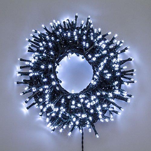 XMASKING Catena Nastro di Luce 20,5 m, 1000 LED Bianco Freddo, con Memory Controller, Cavo Verde, luci Decorative, luci Natalizie, Catena per Albero di Natale