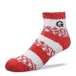 For Bare Feet NCAA RMC Pro Stripe Fuzzy Sleep Soft Sock -Georgia Bulldogs-Size-Medium