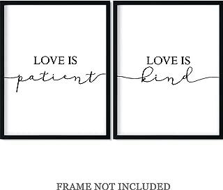 Love is patient, Love is Kind Wall Art Print Decor - Set of 2-11x14 unframed prints