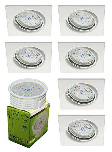 Trango 6 ensemble Spot à encastrer LED TG6729-066SMO en blanc Carré, appareils encastrés, plafonniers, spots encastrés avec module LED 6x 5 Watt - Ultra-plat de seulement 3 cm de profondeur