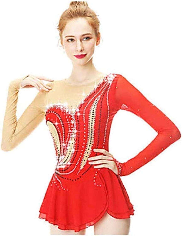 女性女の子フィギュアスケートドレス、手作り長袖ラインストーンスケート着用高弾力性プロ競争毎日スケート (Color : 赤, Size : L)
