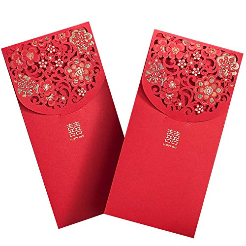 Huante 10PCS Chinese Red Envelopes Lucky Money Envelopes Wedding Red Packet for New Year Wedding (7X3.4 In)