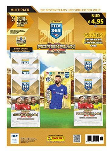 Panini 804955 Adrenalyn XL Sammelkarten FIFA 365, Saison 2019/2020, Multipack mit 5 limitierten, 6 Karten je Booster, bunt
