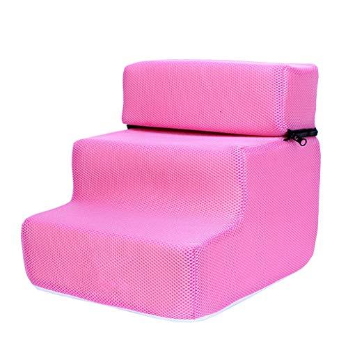Estrella-L Haustiertreppe aus atmungsaktivem Netzstoff, abnehmbares, gepolstertes Bett, 3 Stufen Leiter, für Verletzte, ältere Menschen, Gelenkschmerzen, übergewichtige Dysplasie, Rosa