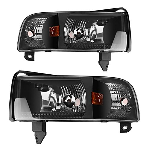 Headlight Assembly for 94-01 Dodge Ram 1500/94-02 Dodge Ram 2500 3500 Replacement OE Projector Headlamp,Black Housing with Corner Lamps