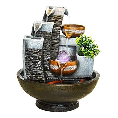 XCTLZG Fuentes creativas para interiores y exteriores, decoración para el hogar, oficina, fuentes de mesa, Feng Shui, bola de transferencia de humectador, fuente de agua (color gris, tamaño: luces)