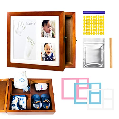 Baby Handprint and Footprint Kit| Baby Keepsake Box| Memory Box| Clay Mold Imprint Kit| Perfect Baby Shower Gifts| Picture Frame for Girl and Boy Baby Registry| New Mom Gift Baby Box
