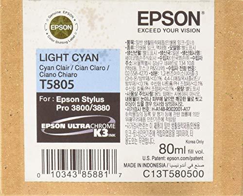 Epson C13T580500 - Cartucho de tinta, cian claro, Ya disponible en Amazon Dash Replenishment