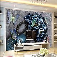 Ljjlm 3D花蝶レリーフ背景壁3D背景壁カスタマイズされた大きな壁紙エコ壁紙-420X280Cm
