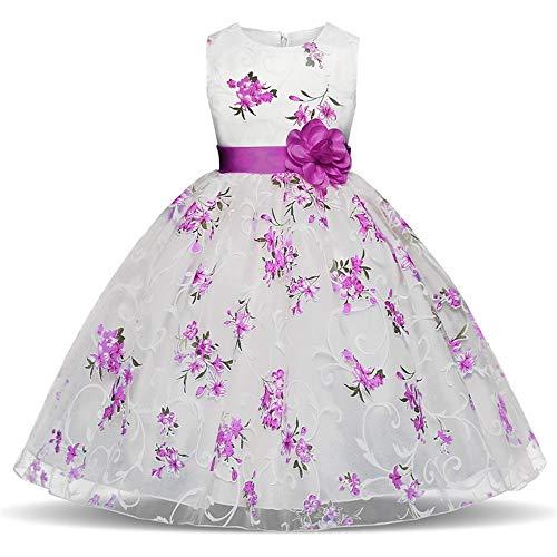 Feixiang Ropa de los niños Flor niño niña Vestido Princesa Oficial Belleza Vacaciones Boda Dama de Honor Vestido niñas Brote Seda Hilado Costura Vestido Vestido Falda