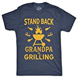Mens Stand Back Grandpa is Grilling T Shirt Funny Fathers Day BBQ Tee for Guys (Heather Navy) - XXL