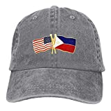 AOHOT Classic Hombre Mujer Gorras de béisbol,USA and Philippines Flag Trucker's Cap Baseball Cap Denim Dad Hat