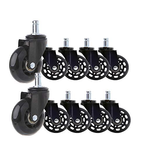 Bürostuhlrollen leise Rollstuhl-Rad Hartbodenrollen für Alle Fußböden geeignet 2,5 Zoll 65mm 10 Stück (11mmX22mm)