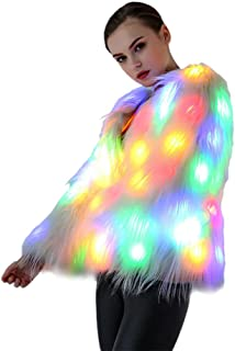 SAOMAI LED Light up Coat Womens Performance Costume Faux Fur Jacket for Party Carnival