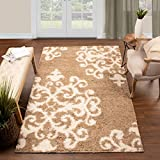 SUPERIOR Hand Tufted Rug Area Rug Shag Gold-White 6' x 9' Home Decor Soft Fluffy Traditional Scrolling Damask Shag Rugs for Living Room with Durable Jute Backing