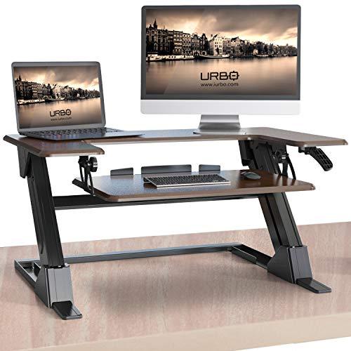 Urbo Larix Stehpult mit Zwei Ebenen, ergonomischer Stehschreibtisch mit neigbarem Tastaturfach und Rille für Handy und Tablet sowie sofortiger Umwandlung von Schreibtisch in EIN Stehpult