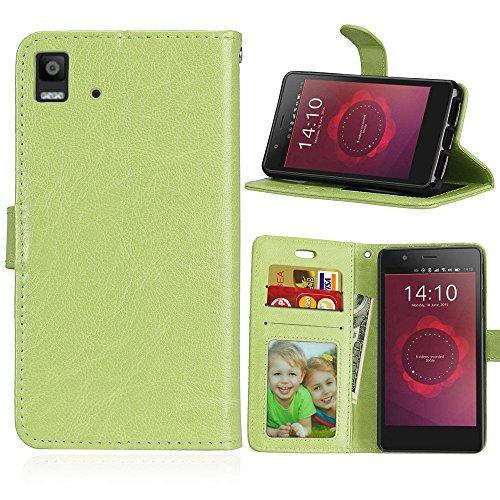 BQ Aquaris E4.5 Hülle, SATURCASE Glatt PU Lederhülle Magnetverschluss Flip Brieftasche Handy Tasche Schutzhülle Handyhülle Hülle mit Standfunktion & Kartenfächer für BQ Aquaris E4.5 (Grün)