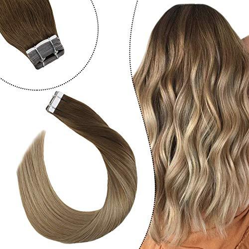 Ugeat Balayage Echthaar Brasilianisch Tape Tressen Remy 100% Human Hair Invisible Skin Weft Adhesive Tabs Unsichtbar 16Zoll (Hellbraun und Dunkel Honigblond Bala#8/16, 50GR/20PC)