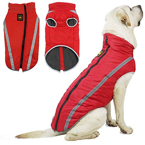 Large Dog Winter Jacket Sweaters, Windproof Waterproof Outdoor Sports Pet Coat for Cold Weather, Dog...