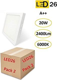 Pack de 2 Plafones de Techo LED 20W 2400lm Blanco Frío