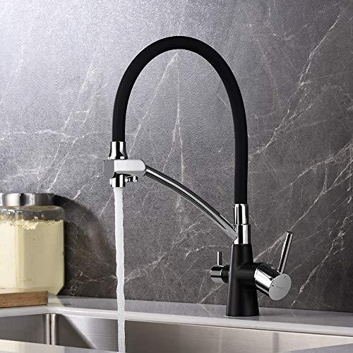 Ibergrif-M22128B-2 Osmose-keukenkraan, met flexibele uitloop en dubbele greep, 3-in-1 sproeiapparaat voor waterfilter, keukengootsteen, zwart