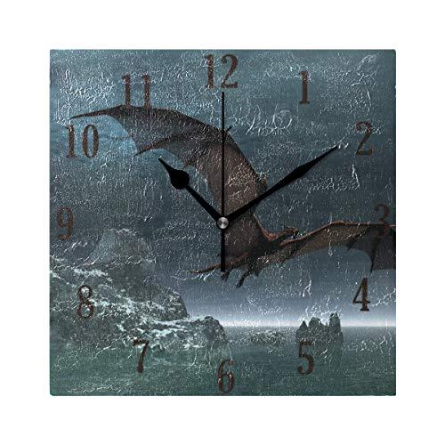 Mnsruu Stilvolle moderne Wanduhr, rundes Drachenmuster, innovative, leise, nicht tickende dekorative Uhr für Wohnzimmer, Schlafzimmer, Zuhause, Büro