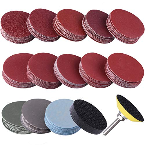 SIQUK 130pcs Sanding Discs 50mm with 1pc 1/4' Shank Backing Pad and 1pc Soft Foam Buffering Pad for Drill Grinder (10pcs Each Grit - 60 80 120 180 240 400 600 800 1000 1200 1500 2000 3000)