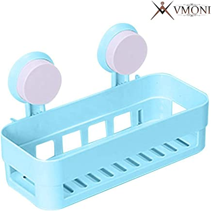 Vmoni Plastic Inter Design Bathroom Kitchen Organize Shelf Rack Shower Corner Candy Basket with Wall Mounted Suction Cup (Multicolour, Medium)