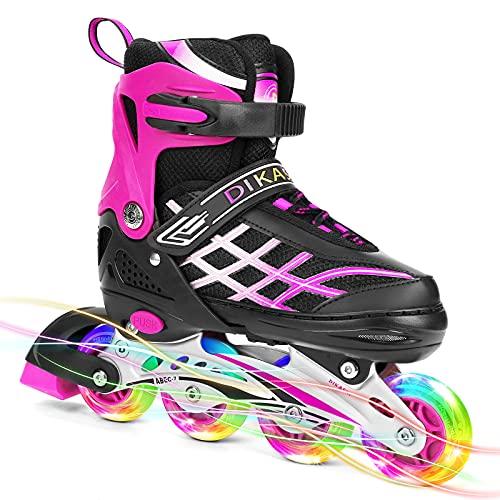 SKL Inline Skates for Kids Girls Boys with Light Up Wheels, Illuminating Roller Blade for Teens Beginners Outdoor Indoor Adjustable Size