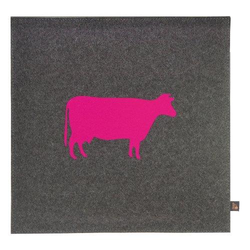 ebos Wollfilz Sitzkissen, 40x40cm, Kuh-Motiv, Stuhl-Kissen, Sitz-Polster, Stuhl-Auflage