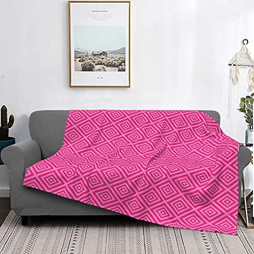 Dachangtui Manta Mantas de Microfibra ultrasuaves, Estampado de Azulejos clásicos de Cuadrados Rosas, Manta Suave y Ligera para sofá Cama, Sala de Estar, 50 'x 60'