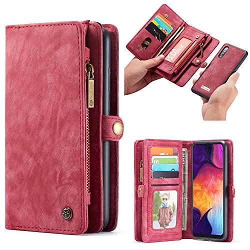 Simicoo Samsung A50 Leder Wallet Schutzhülle 11 Kartenfächer Reißverschluss Abnehmbare Brieftasche Magnetverschluss Robuste Filp Tasche Handyhülle für Samsung A50 (A50, Red)