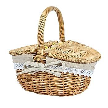 Midream Panier en osier fait à la main avec poignée, panier de pique-nique en osier avec double couvercle, panier de rangement portable avec doublure en tissu
