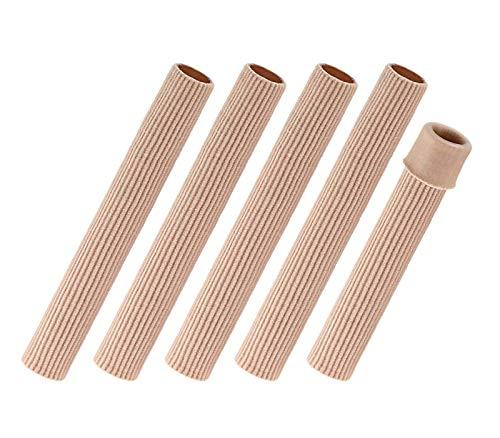 BaiJ Tubos de Dedo de Pie,Tubo de Gel Vendaje 5 Pack Cojín de Dedos de Pie Protectores de Almohadillas de Gel Suave para Ampollas Callos Alivio del Dolor Fibra 6 Pulgada