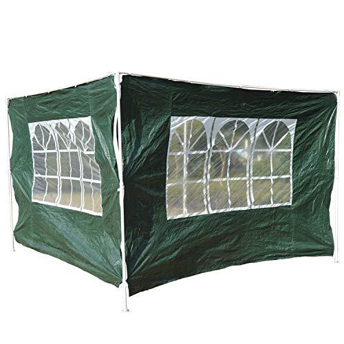 Outsunny 2 Paredes Parte Laterales para Carpa 3x3m 3x6m Lado Parasol de Gazebo Tela Oxford Impermeable con Ventanas Medidas 300x200cm Verde Oscuro
