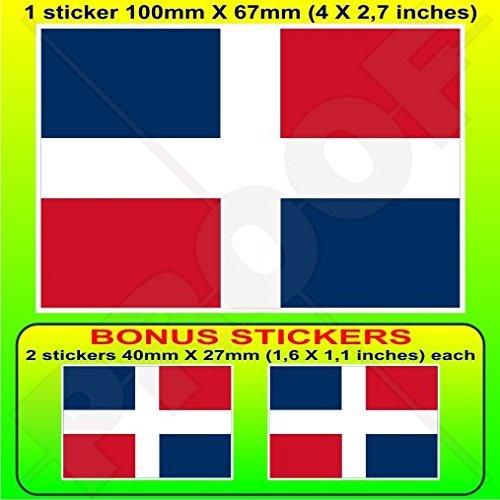 DOMINICAINE RÉPUBLIQUE Drapeau Civil et Enseigne, 100mm Vinyle Autocollant, x1+2 BONUS Stickers