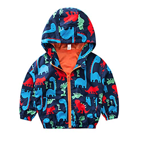 EISHOW Kids Baby Boys Long Sleeve Dinosaur Fall Coat Outwear Infant Toddler Hoodie Hooded Zip-up Thin Jacket Clothes (Orange, 5 Years)