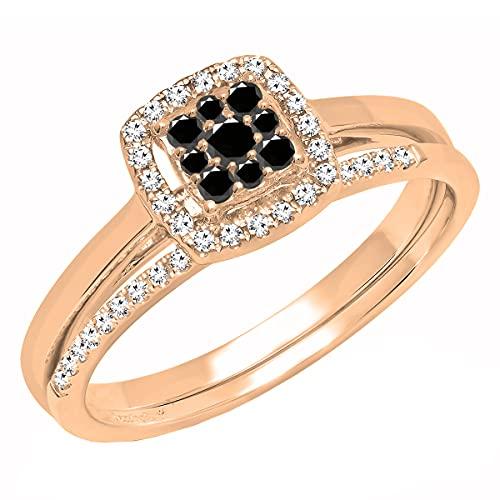 Dazzlingrock Collection Juego de anillos de compromiso de 0,30 quilates de diamante negro redondo para mujer de 1/3 quilates, oro rosa de 14 quilates, talla 5